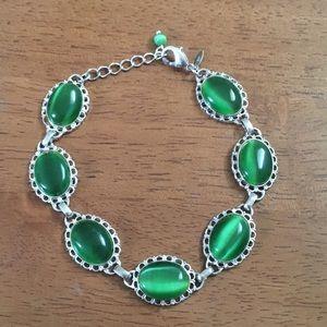 Green and Silver Tone Avon Bracelet